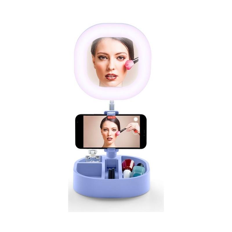 CELLULAR LINE Selfie Ring Mirror Supporto per telefono cellulare e Specchio Integrato (Nero)
